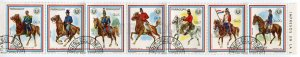 266260 Paraguay used stamps military HORSEMEN in strip