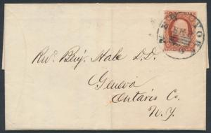 #10A ON FOLDED LETTER SEPT 28,1851 NYC CANCEL WITH EXPERIMENTAL POSTMARK BR3080