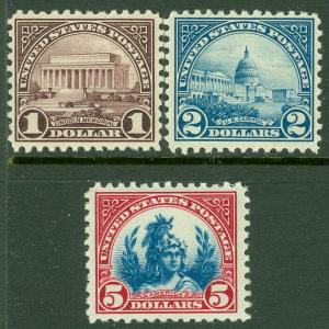 EDW1949SELL : USA 1923 Scott #571-73 Fine-Very Fine, Mint Original Gum. Cat $180