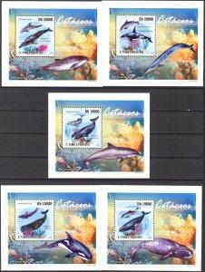 {057} Sao Tome & Principe 2009 Whales 5 S/S Deluxe MNH**