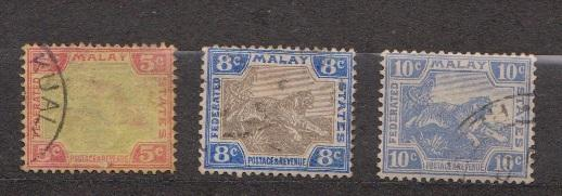 MALAYA - Scott # 21, 22, 62 Used Tiger Stamps - Good Value