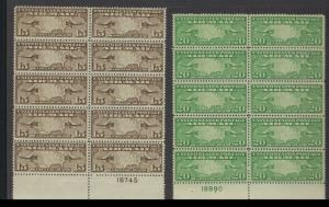 *C8, C9 PLATE #, BLOCK OF 10, EXTRA FINE, NEVER HINGED SCOTT $172.50