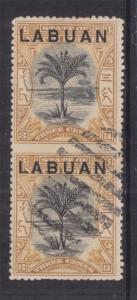 LABUAN, 1897 3c. Black & Ochre, PAIR IMPERF. BETWEEN VERTICALLY, Bars.