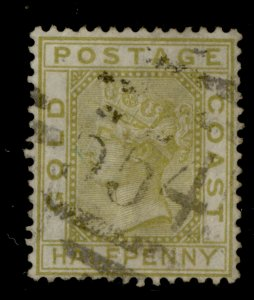 GOLD COAST QVI SG4, ½d olive-yellow, FINE USED. Cat £40.