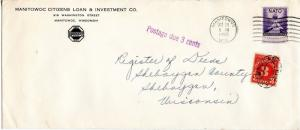 U.S. Scott 1008 NATO Issue On Postage Due 1952 Wisconsin Cover