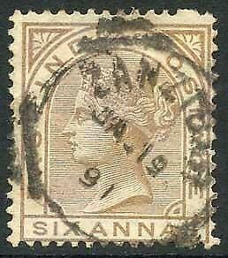 Zanzibar SGZ60 6a Pale Brown Z5 Squared Circle dated 19th Jan 1891