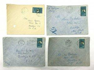 Feda + Flekkesfjord + Slitu Norway > Brooklyn NY 1950s airmail covers