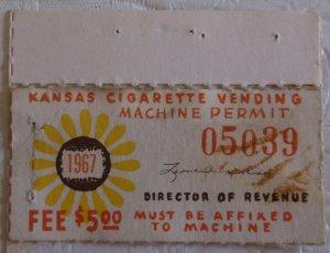 United States State Revenue Kansas Cigarette Vending Tax 1967 MNH