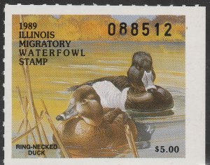 U.S.-ILLINOIS 15, STATE DUCK HUNTING PERMIT STAMP. MINT, NH. VF