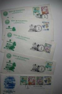 Calistoga CA Centennial Celebration 1986 event Stamp booklet pane FDC 2201a-d