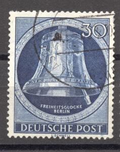 Berlin, 1951, Freedom Bell, 30 Pf. clapper right, VF  used , Mi. # 85