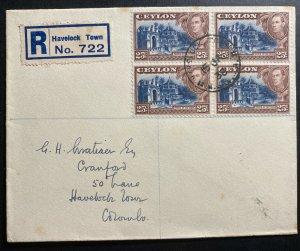 1938 Havelock Town Ceylon Registered Cover