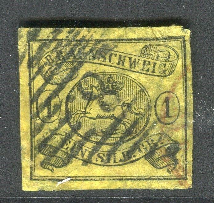 GERMANY  BRUNSWICK 1853-6 early classic Imperf issue 1sgr. used value