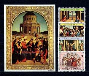 ANTIGUA - 1982 - CHRISTMAS - RAPHAEL - MAGI - ANNUNCIATION ++ MNH SET + S/SHEET!