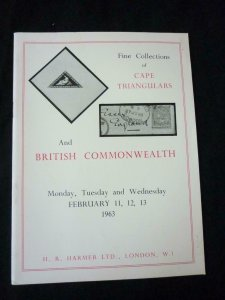 H R HARMER AUCTION CATALOGUE 1963 CAPE TRIANGULARS AND BRITISH COMMONWEALHT