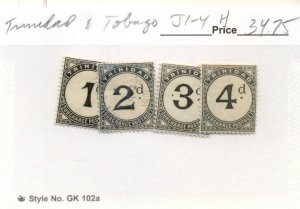 TRINIDAD & TOBAGO #J1-4, Mint Hinged, Scott $34.75