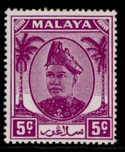 MALAYSIA - Selangor GVI SG94, 5c bright purple, M MINT.