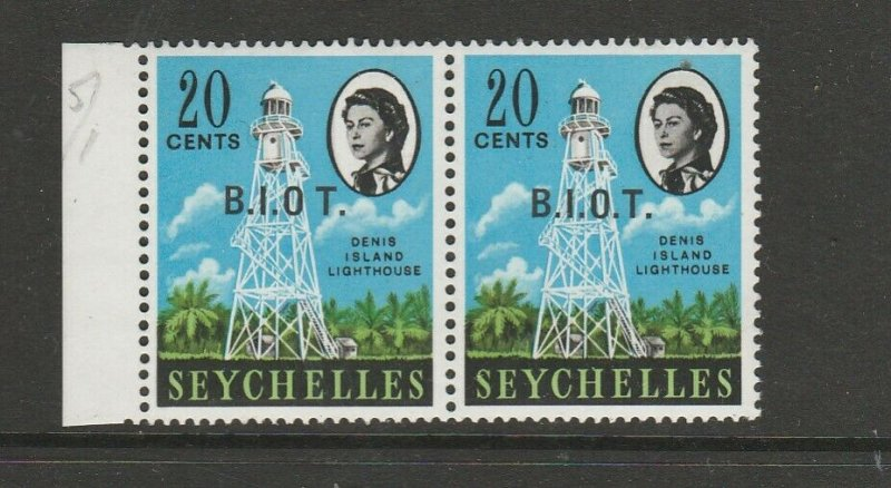 BIOT 1968 Opts on Seychelles NO STOP AFTER O, UM/MNH in pair with normal, SG 4b