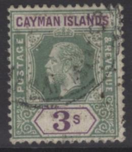 CAYMAN ISLANDS SG50 1912 3/= GREEN & VIOLET FINE USED