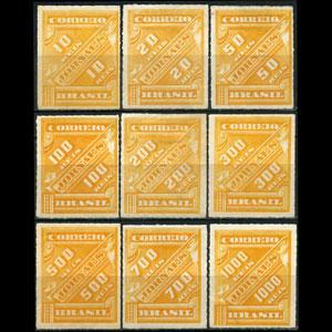 BRAZIL 1889 - Scott# P1-9 Numeral Set of 9 NH gum faults