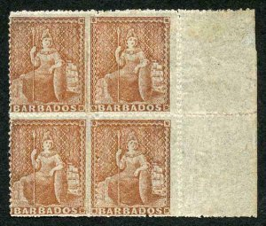Barbados SG26 1861 (4d) dull brown-red rough perf 14 to 16 Superb Mint Block of