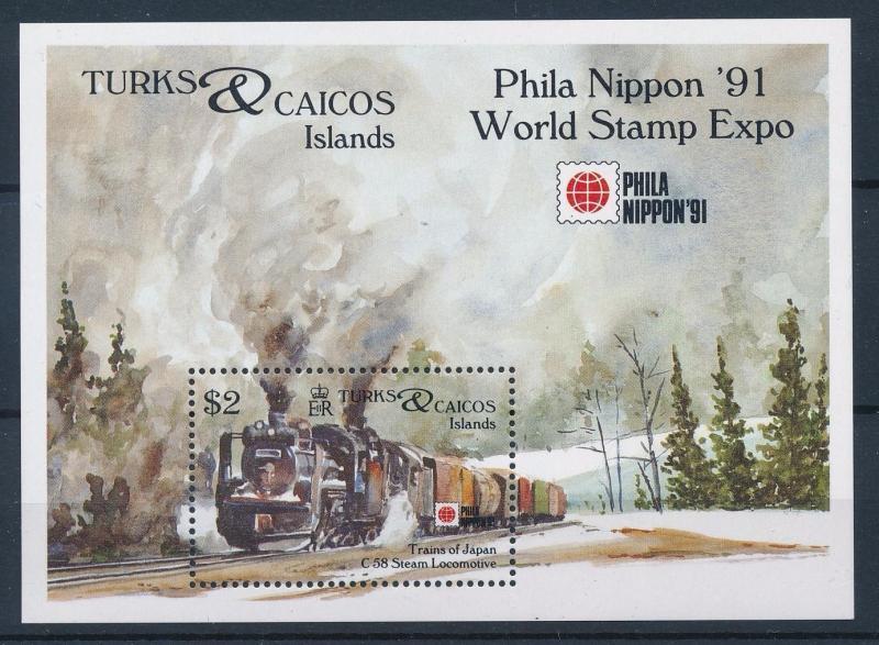 [62513] Turks & Caicos Islands 1991 Railway Train Eisenbahn Souvenir Sheet MNH