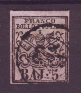 J21194 Jlstamps 1852 roman states used #6 papal arms