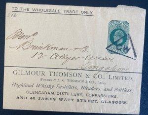 1900s England Postal Stationery Wrapper Cover To Singapore Highland Whisky Disti