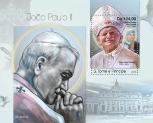 SAO TOME - 2019 - Pope John Paul II - Perf Souv Sheet - MNH