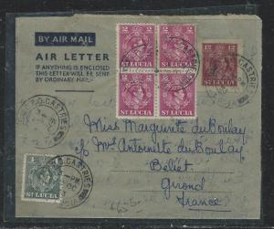 ST LUCIA (P2006B) KGVI 12C AEROGRAMME +2C BL OF 4+4C TO FRANCE WITH MSG