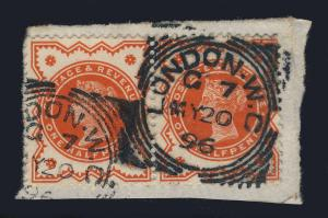 GB - PAIR SG197 CANCELLED LONDON W.C. SQUARED CIRCLE DATE STAMP - 1/2d VERMILION