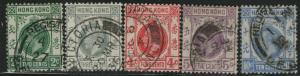 HONG KONG Used Scott # 130,132-4,137 King George V - rem, pencil # (5 Stamps)-1