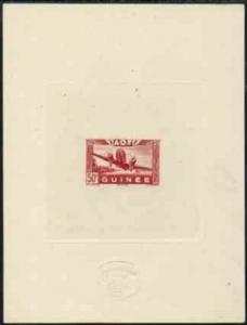 French Guinea 1942 Air stamp (Plane over village inscribe...