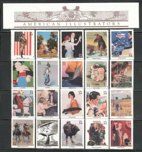 3502 (a-t) American Illustrators Complete Set W/ Header & 20 Singles MNH