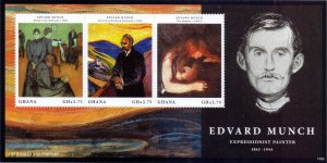 Ghana. 2013. Art Painting Edward Munch. MNH.