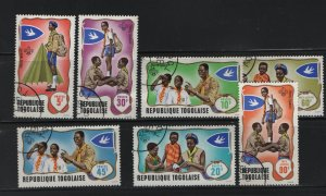 TOGO, 656-660, C97-C98 (7) set, Used, 1968  Issued to Honor the Togolese Scouts