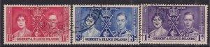 Gilbert & Ellice Islands 1937 KGV1 Set Coronation used SG 40 - 42 ( F68 )