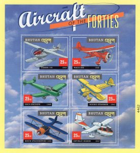 Aircraft of the Forties, Postage Stamps, Sheet / Pane of 6, Aviation, Bhutan