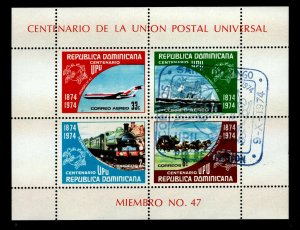 Dominican Republic Sc #C221a S/S - First Day of Issue  - 1974 UPU Centenary