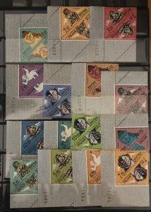Bhutan 1966  #84-84N Pairs/Corner Blocks, MNH, CV $23.90