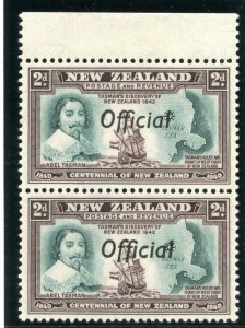 New Zealand 1940 Official 2d blue-green & chocolate pair MNH. SG O144, O144a.