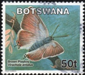 Botswana 847 - Used - 50t Brown Playboy Butterfly (2007) (2)