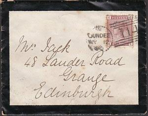 GB SCOTLAND 1880 mourning cover DUNDEE DOTTED CIRCLE duplex................57378