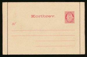 NORWAY Mi. K3 POSTAL STATIONERY LETTER CARD AVSENDER 10o CARMINE
