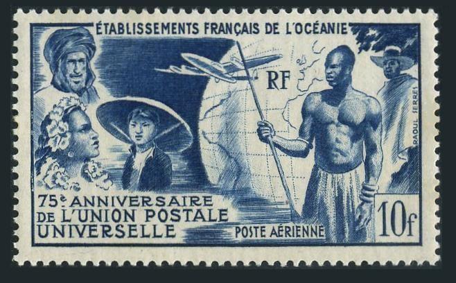 Fr Polynesia C20,hinged.Michel 284. UPU-75,1949.French Colonials,Globe,Plane.