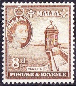 MALTA 1956 QEII 8d. Bistre-Brown SG275 MH