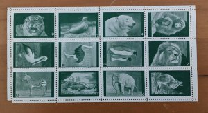 Poster Stamps Great Britain Animals of London Zoo Set of 12 Green MNH Perforated