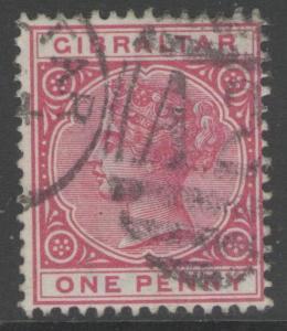GIBRALTAR SG9 1887 1d ROSE USED