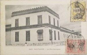 A) 1910, EL SALVADOR, POSTCARD, NATIONAL PALACE, PENITENTIARY