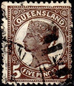 AUSTRALIA / QUEENSLAND 1895 - SG215 5d purple-brown p.13 - Very Fine Used